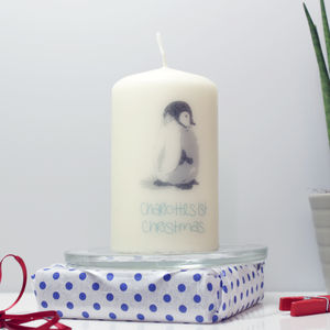 Personalised '1st Christmas' Penguin Candle