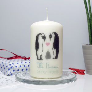 Personalised Family Penguin Candle