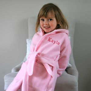 Personalised Child's Dressing Gown In Pink - bathtime
