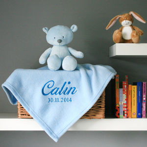 Personalised Baby's Blanket In Blue - baby's room