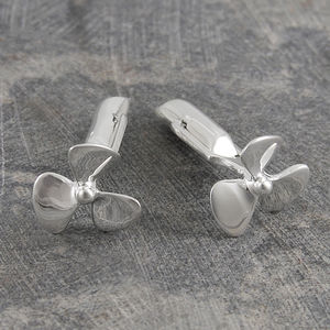 Silver Propeller Nautical Cufflinks - women's jewellery