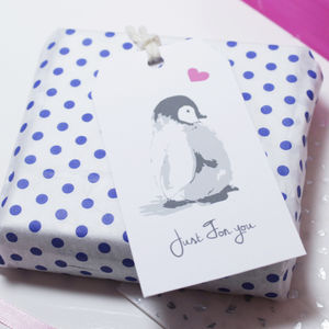 'Just For You' Penguin Gift Tag - cards & wrap
