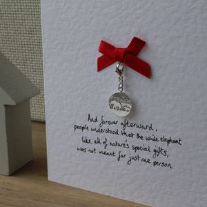 Sterling Silver Mother And Baby Elephant Charm Card - christening cards