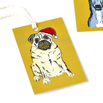 Pug Dog Christmas Tags
