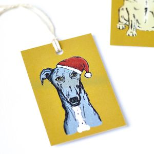 Greyhound Dog Christmas Tags - finishing touches