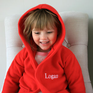 Personalised Child's Dressing Gown In Red - nightwear
