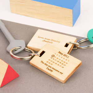 'The Day You Became My..' Maple Wood Keyring - gifts for new dads