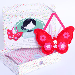 Butterfly Sewing Craft Kit In Red Girls Gift