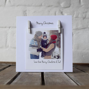 Personalised Peg Photo Message Christmas Card - cards