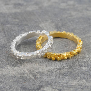 Cubist Gold And Silver Jewellery Stacking Ring