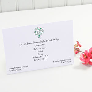 Illustrated Change Of Address Cards - new home cards
