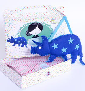Dinosaur Sewing Craft Kit In Blue Birthday Gift