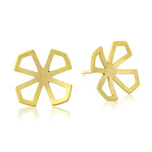 Star Lotus Domed Stud Earrings - earrings