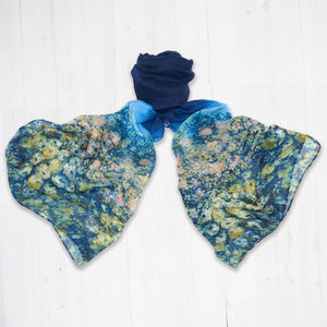 Monet Style Print Scarf In Blue - scarves