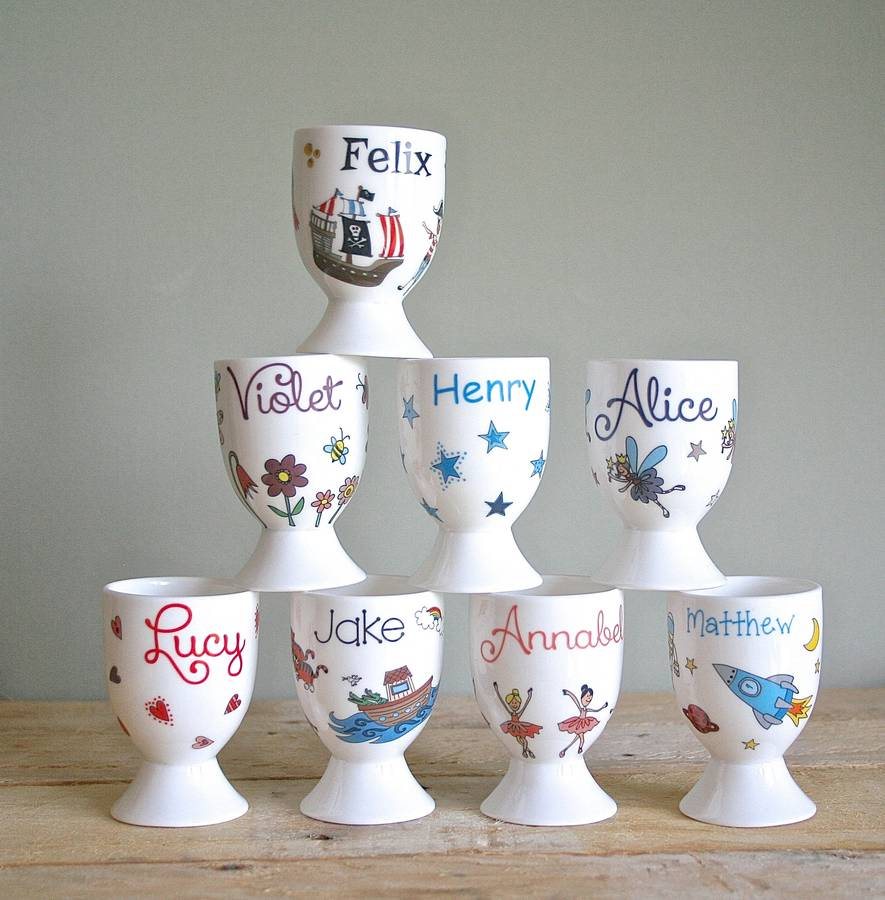 Personalised Egg Cups By Sparkle Ceramics