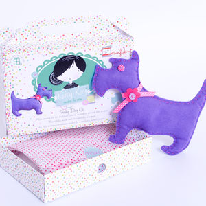 Felt Dog Sewing Kit In Purple Birthday Gift