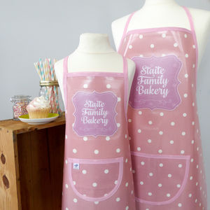 Personalised 'Family Bakery' Oilcloth Apron