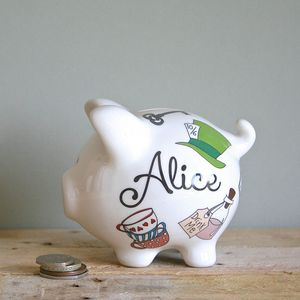 Personalised Alice In Wonderland Piggy Bank