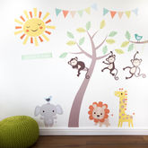 Pastel Jungle Animal Wall Stickers - home