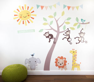 Pastel Jungle Animal Wall Stickers - baby's room