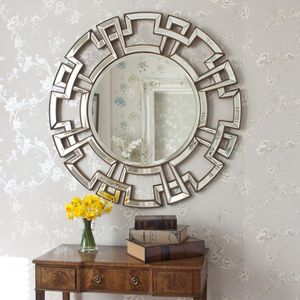 Atticus Round Decorative Mirror - bedroom