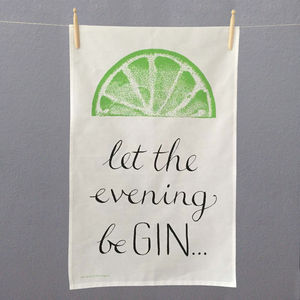 'Let The Evening Be Gin' Lime Tea Towel
