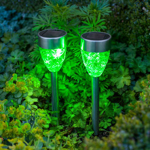 Set Of Four Green Prism Solar Stake Lights