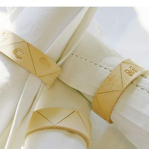 Personalised Leather Napkin Ring Set Of Six