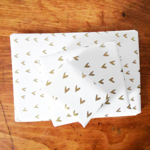 Gold Heart Gift Wrap Set - wrapping paper