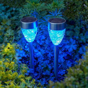 Set Of Four Blue Prism Solar Stake Lights