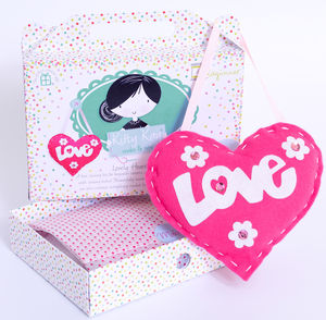 Love Heart Craft Sewing Kit In Pink Birthday Gift