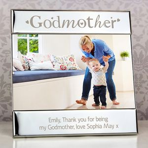 Godmother Personalised Silver Photograph Frame - baby's room