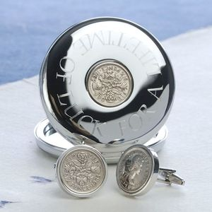 Luxury Silver Plated Lucky Sixpence Set - men's accessories