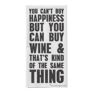 Happiness And Wine Quote Napkins