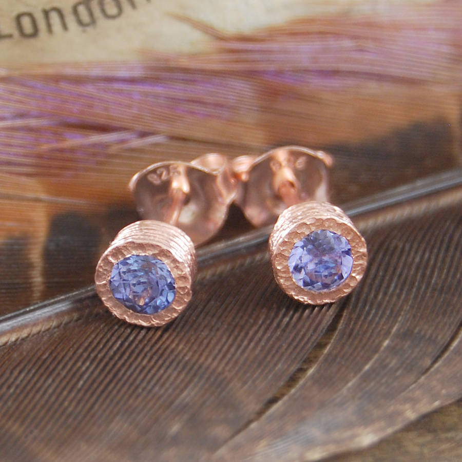 Fine Tanzanite Birthstone Rose Gold Earrings