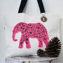 Screen Printed Indian Elephant Canvas Tote Bag