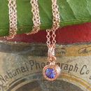 Rose Gold Tanzanite December Birthstone Necklace