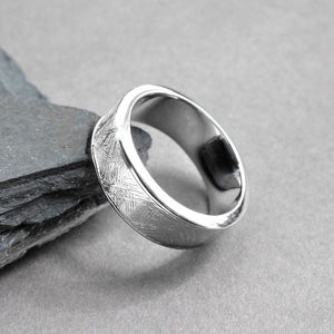 Meteorite Inlaid Silver Ring Band - wedding jewellery