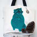 Screen Printed Raccoon Canvas Tote Bag