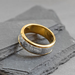 Meteorite Inlaid Gold Plated Ring Band - 50th anniversary: gold