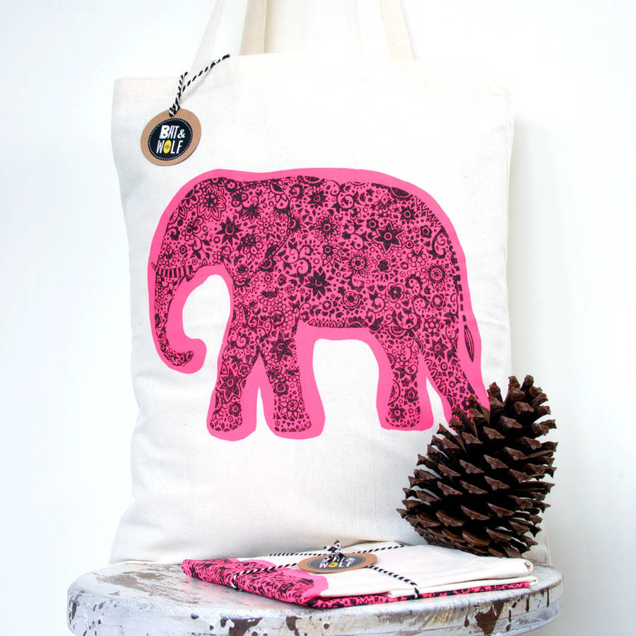 Screen Printed Indian Elephant Tote Bag