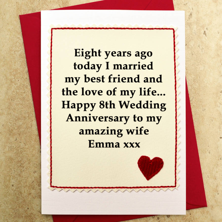Personalised 8th wedding anniversary card by jenny arnott for Best gift for marriage anniversary