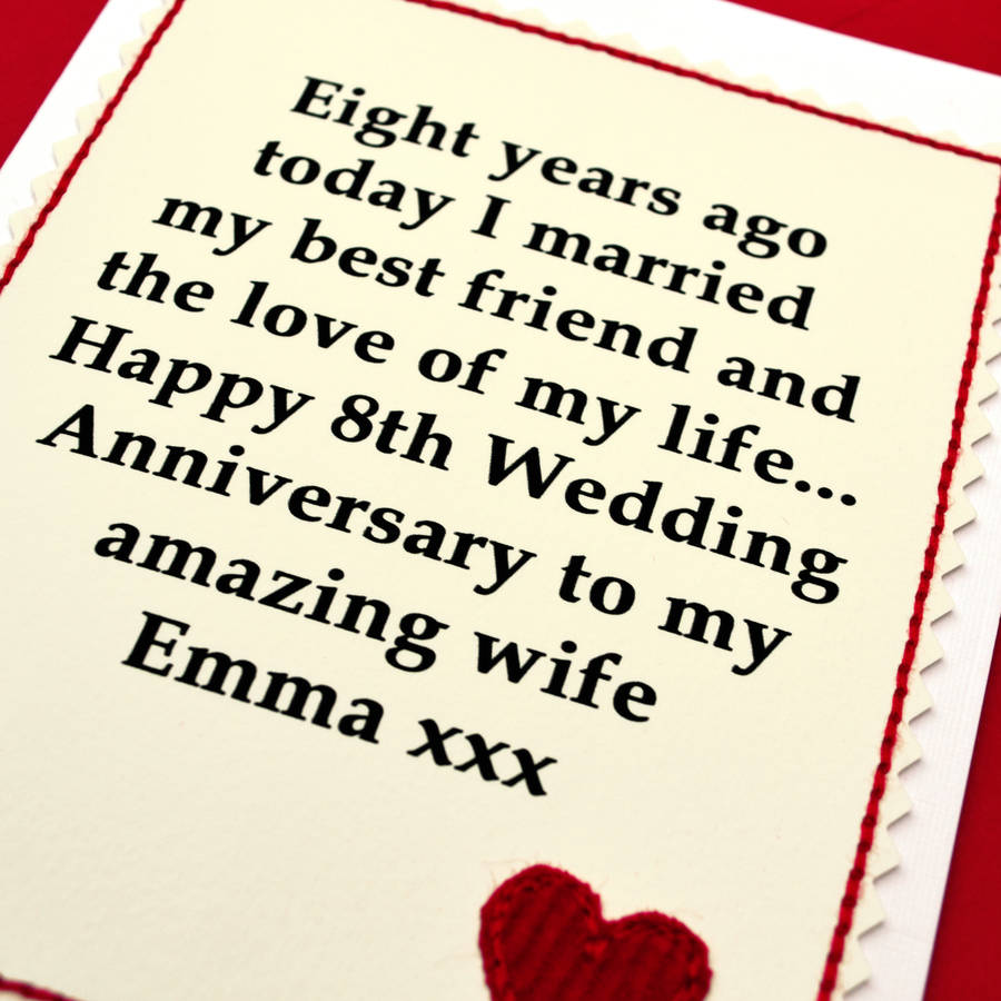 8 Year Wedding Anniversary: Personalised 8th Wedding Anniversary Card By Jenny Arnott