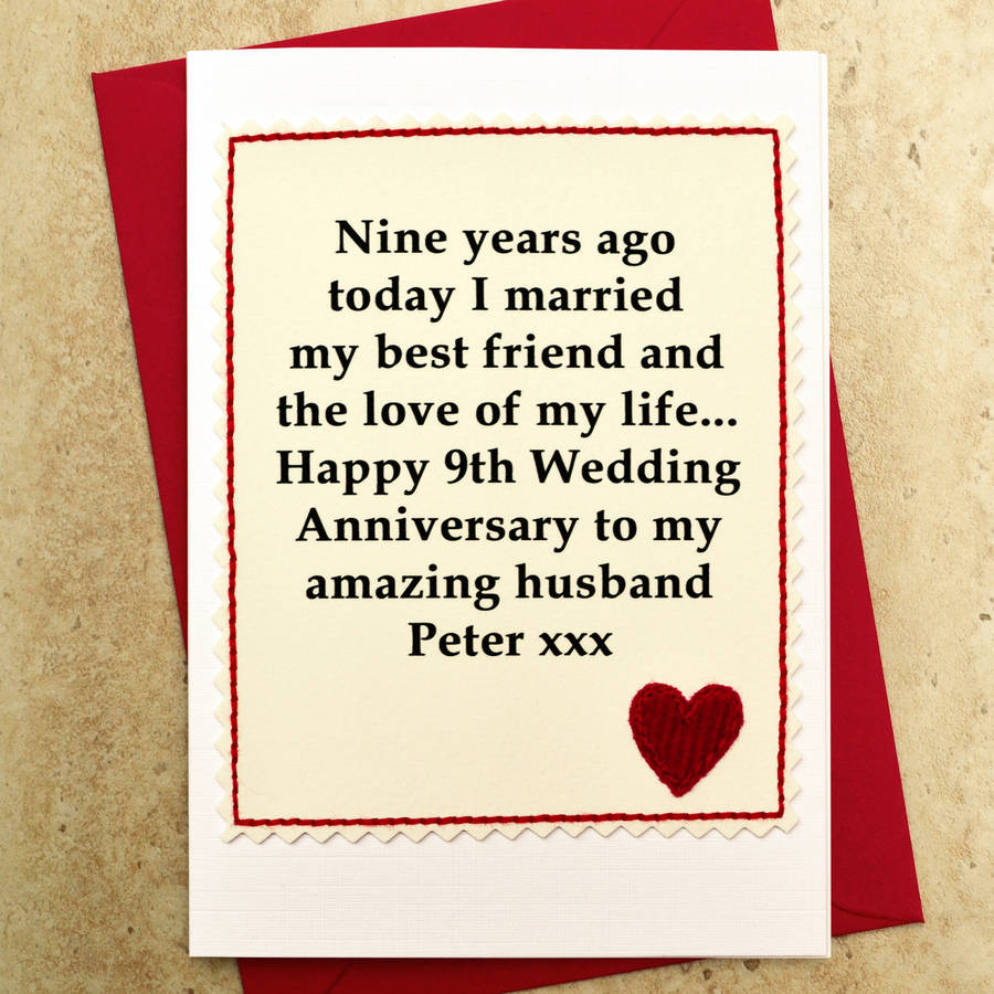Personalised Wedding Gifts Not On The High Street : personalised 9th wedding anniversary card by jenny arnott cards ...
