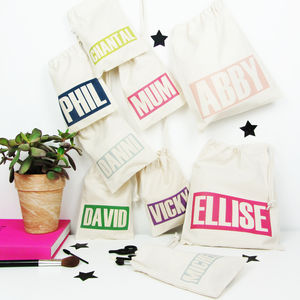 Personalised 'Name' Draw Cord Makeup And Bits Bag - make-up bags