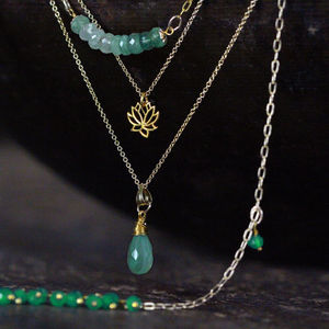 Emerald And Onyx Layering Necklace Set