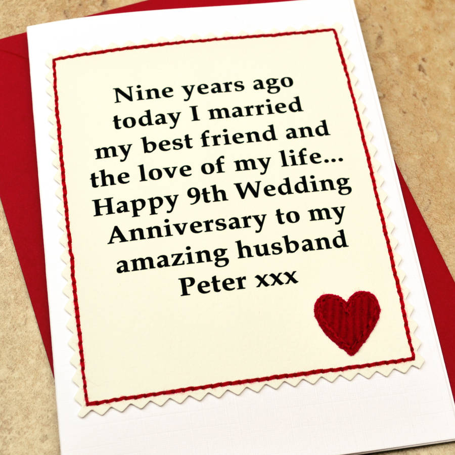 Personalised 9th Wedding Anniversary Card By Jenny Arnott Cards