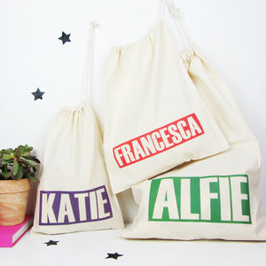 Personalised 'Name' Draw Cord Storage Bag - sale by room