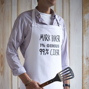 Personalised 'One% Genius 99% Alcohol' Apron - gifts for him