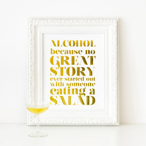 'Alcohol' Gold Foil Print - whatsnew